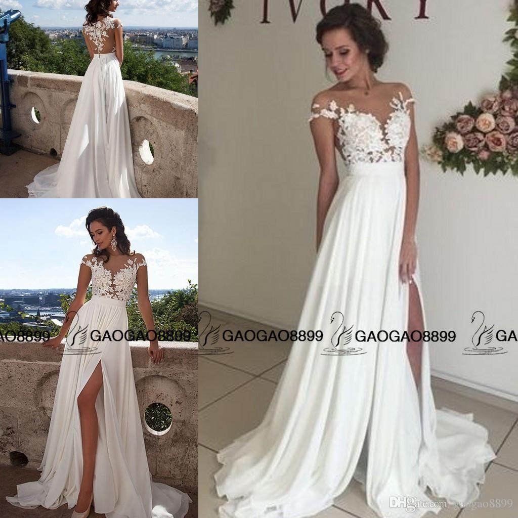 Mila Nova 2016 Lace Chiffon Elegant Simple Summer Holiday Beach Split Wedding Dresses Sheer Neck Cap