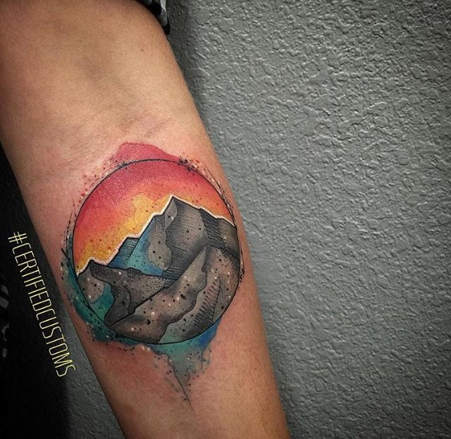 Watercolor mountain schene tattoo by Chris Roberts at Certified ...