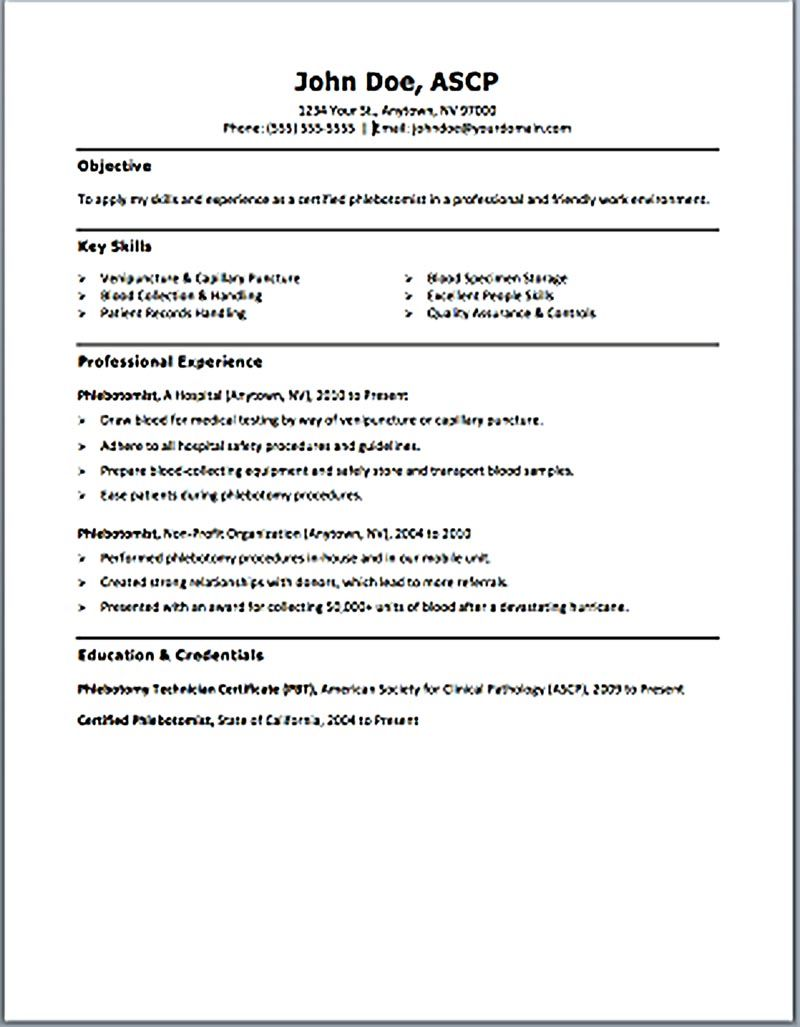 Lovely Sample Resume For Phlebotomist Throughout Phlebotomist Duties Resume