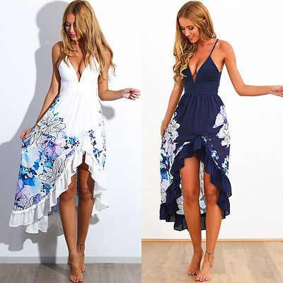 0c14a06e3c Sexy Women Summer Boho Long Maxi Evening Party Dress Beach Dresses Sundress