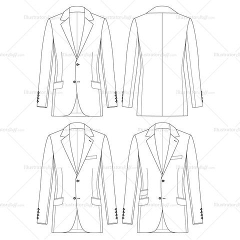 Mens Slim Fit Jacket Fashion Flat Template