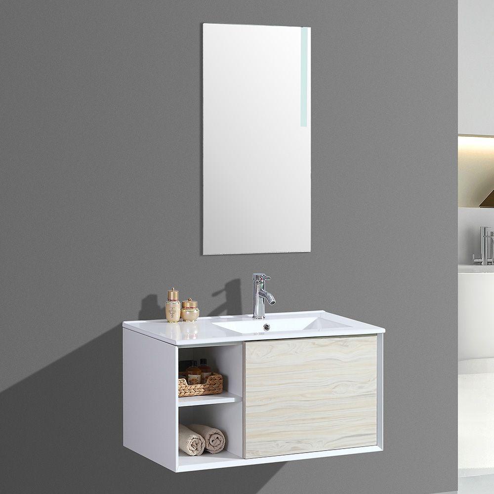 Meuble salle de bain avec miroir LED simple vasque ALOA - 2 ...
