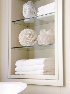 Recessed Glass Shelves With Dragon Wallpaper Behind