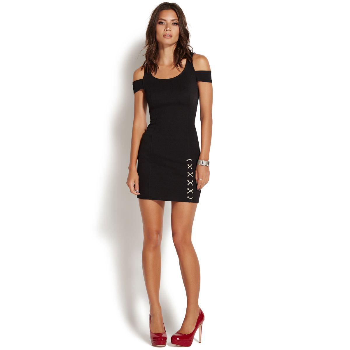 ee294d9959a86 COLD SHOULDER LACE UP DRESS - ShoeDazzle | Pretty dresses | Dresses ...