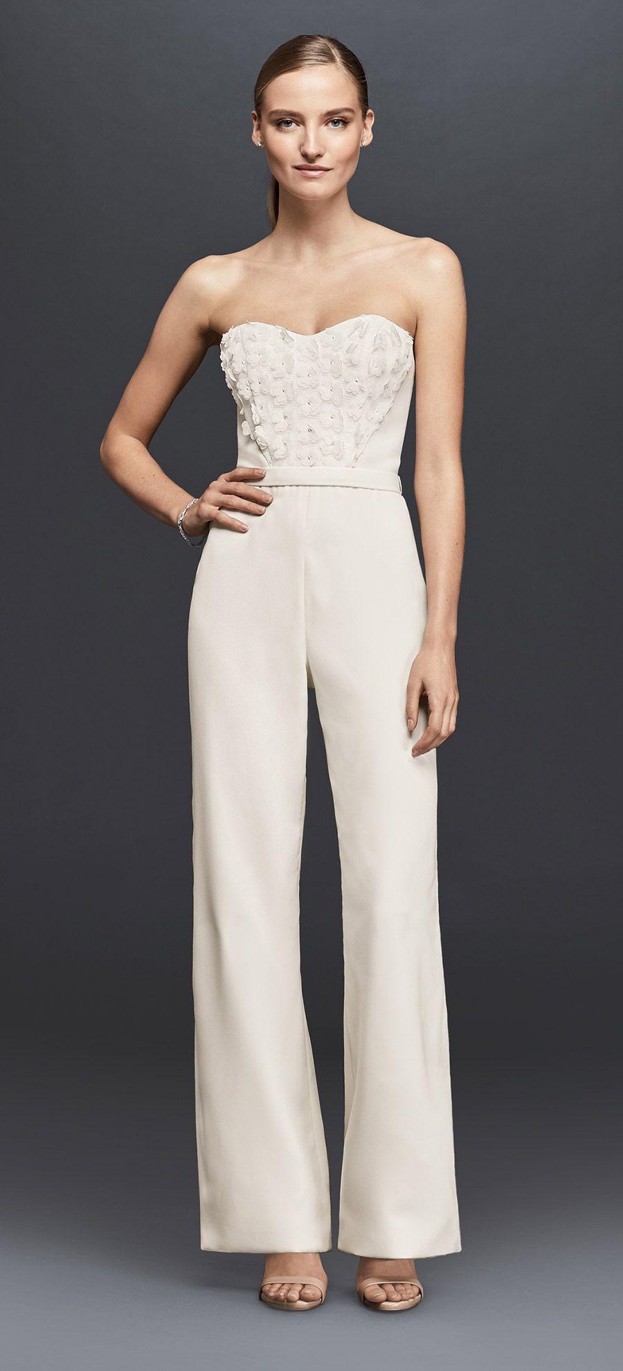 Strapless Crepe Jumpsuit with 20D Floral Details   David's Bridal ...