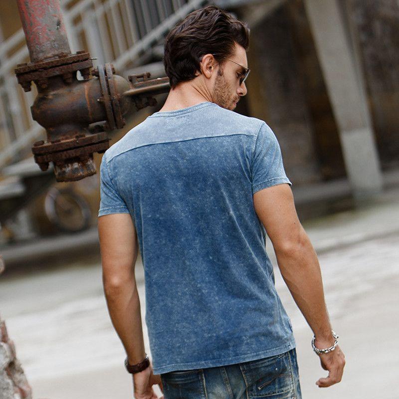 2f1e376871677a GustOmerD 2017 Summer Top Quality 100 Cotton Slim T shirt Fashion Design  Short Sleeve Mens T