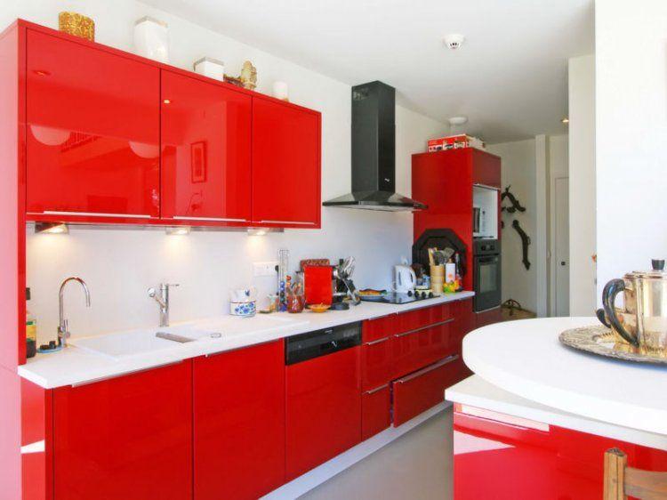 Cuisine rouge  des pièces tendance et modernes - Photo Cuisine Rouge Et Grise