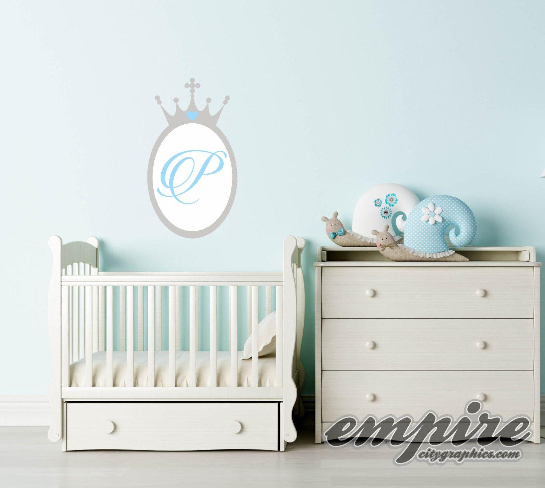 New Princess Crown Mirror Decal Princess Monogram Crown - Monogram wall decal for nursery
