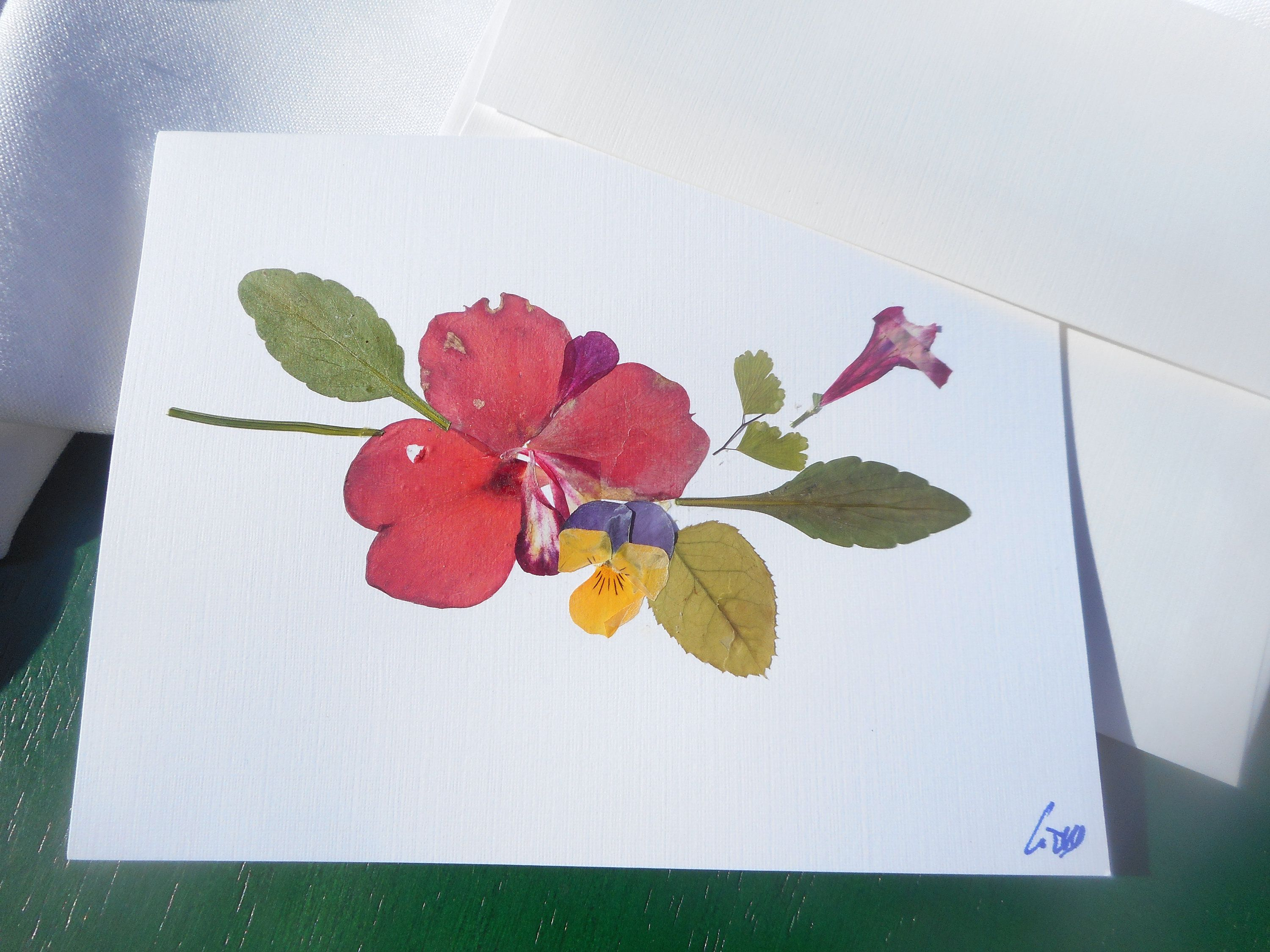 Unique One Of A Kind Greeting Card With Real Pressed Flowers