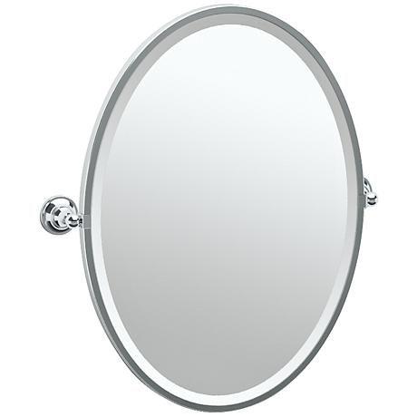 Gatco Tiara Chrome 24 1 4 X 27 1 2 Oval Wall Mirror 7x620 Lamps Plus In 2020 Oval Wall Mirror Gatco Mirror Wall