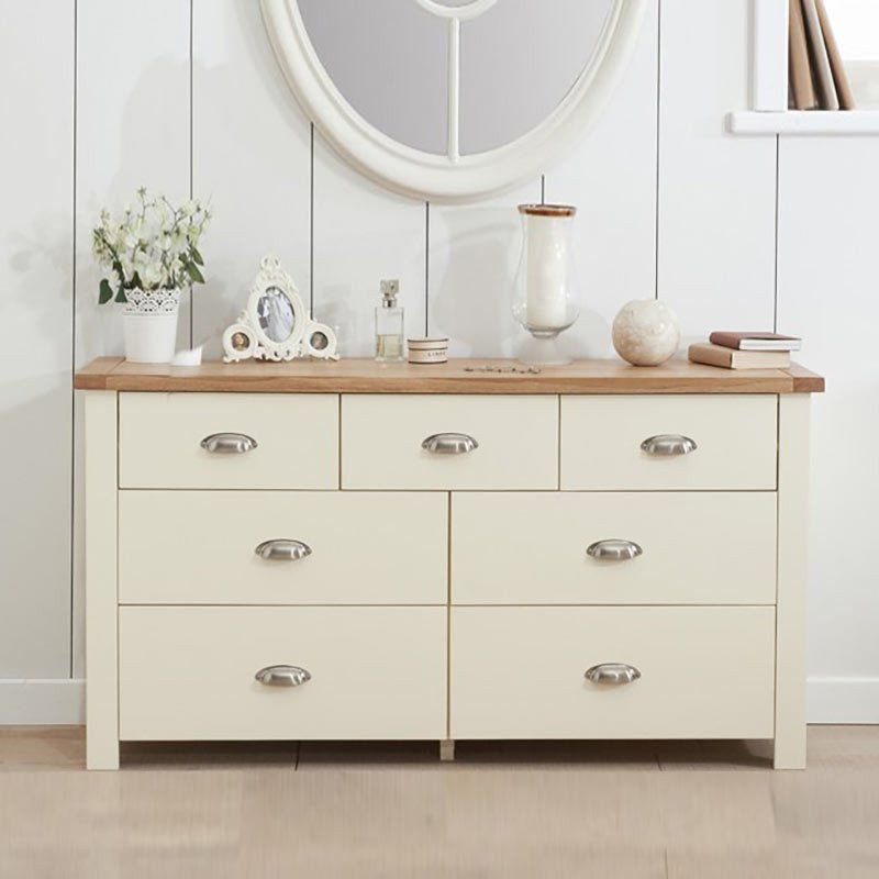 Sandringham Solid Oak Painted Cream/Grey Cabinet (3+4 Drawers ...