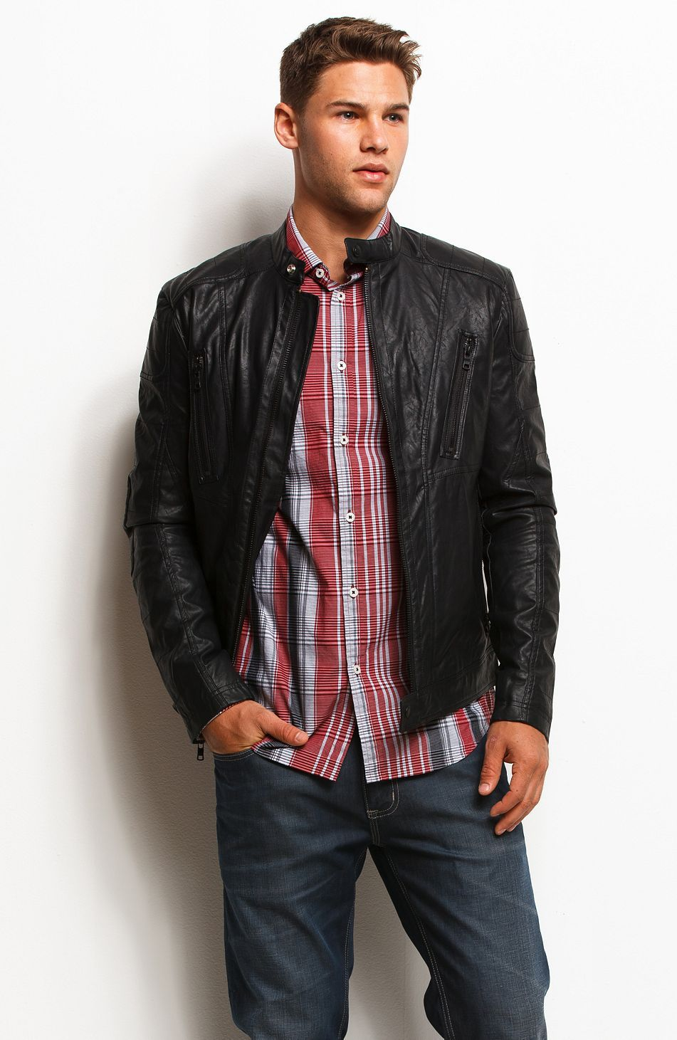 Faux Leather Moto Jacket Jackets & Outerwear Mens