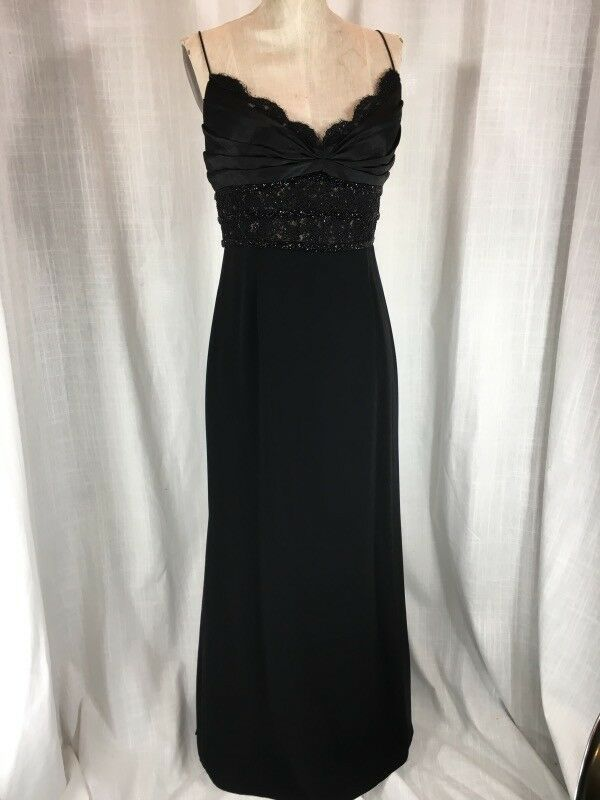 681f29953a (eBay Ad) Vintage Inspired Black Carmen Marc Valvo Beaded Evening Gown