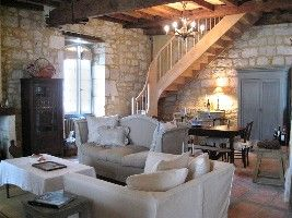 Issigeac villa rental - Main living and dining area 'piece de vivre' with stairs up to top floor suite.