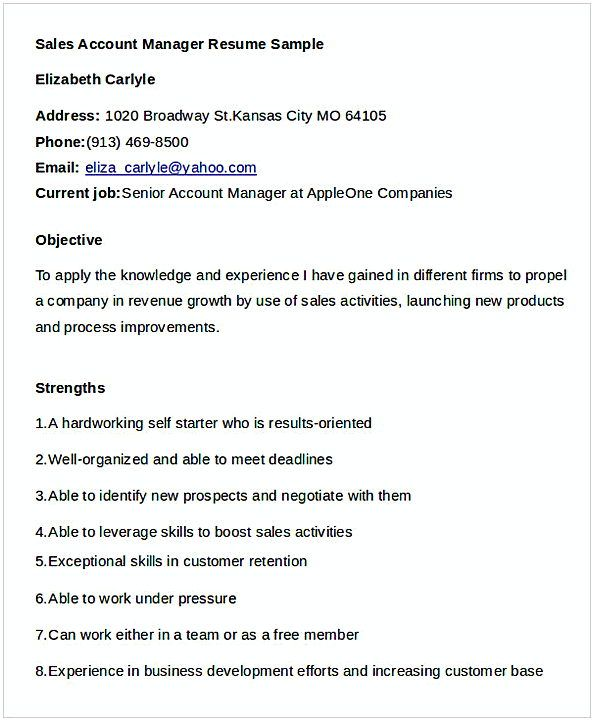 Sales Account Manager Resume 1 , General Manager Resume , Find the - account management resume