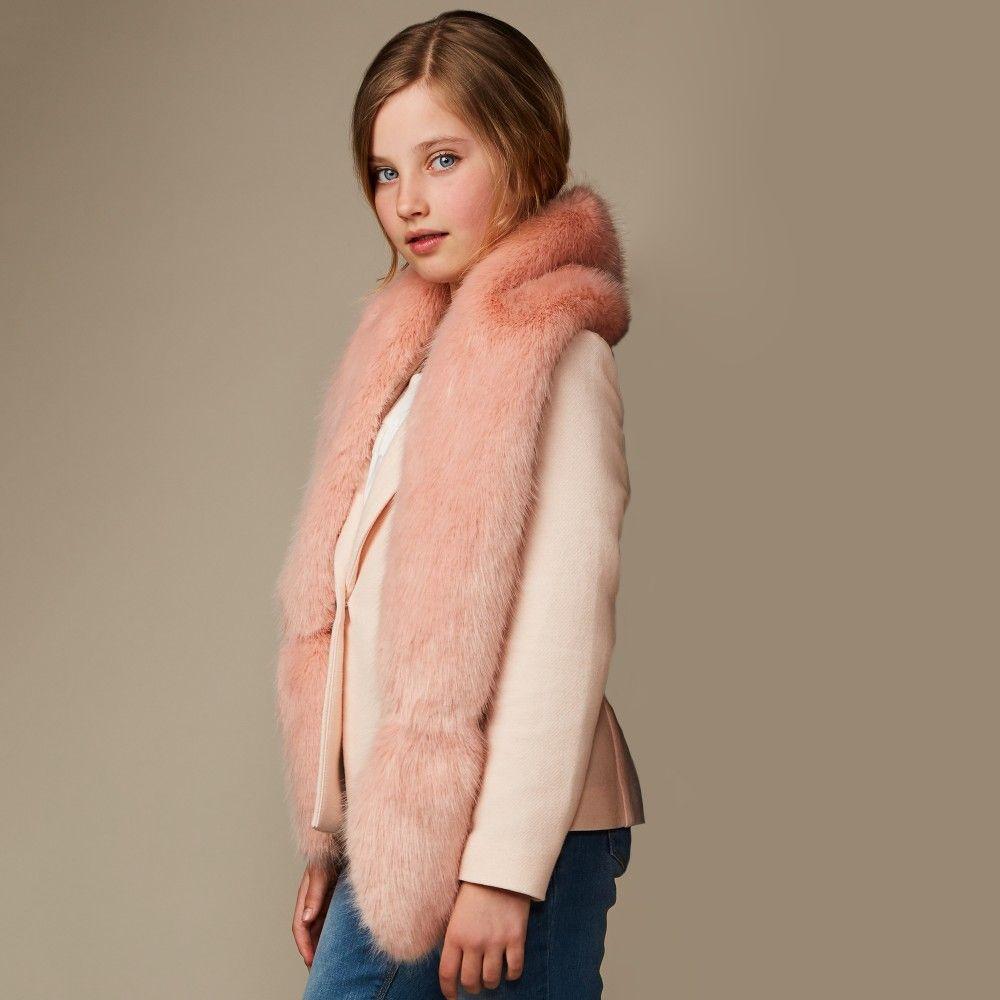 3207e93e65c9 helen moore - Girls Dusky Pink Synthetic Fur Scarf