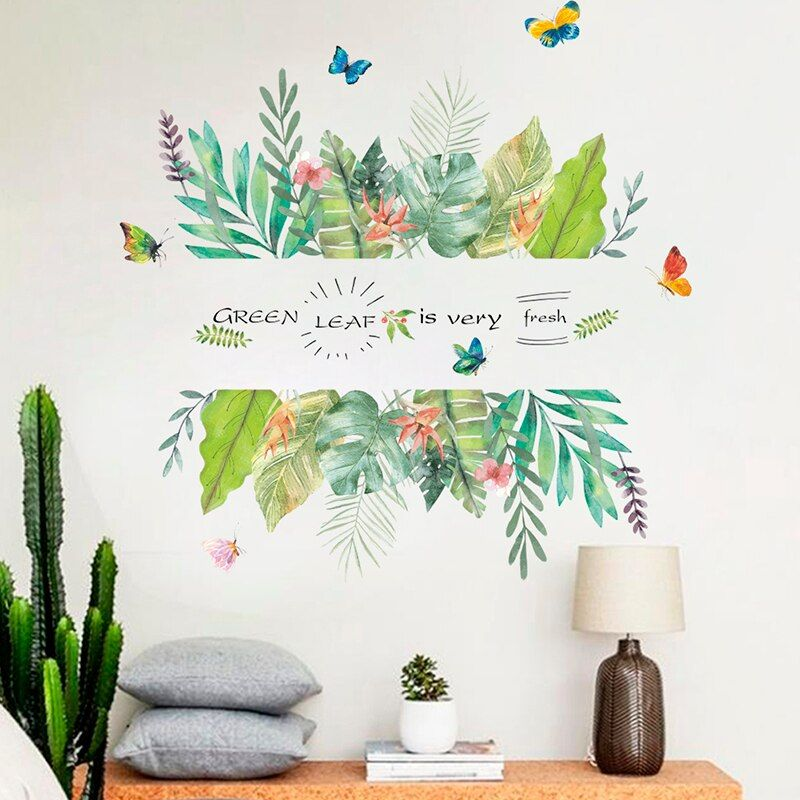 Wall Sticker Tropical Leaves Plant Living Room Decal Home DIY Butterfly Flower