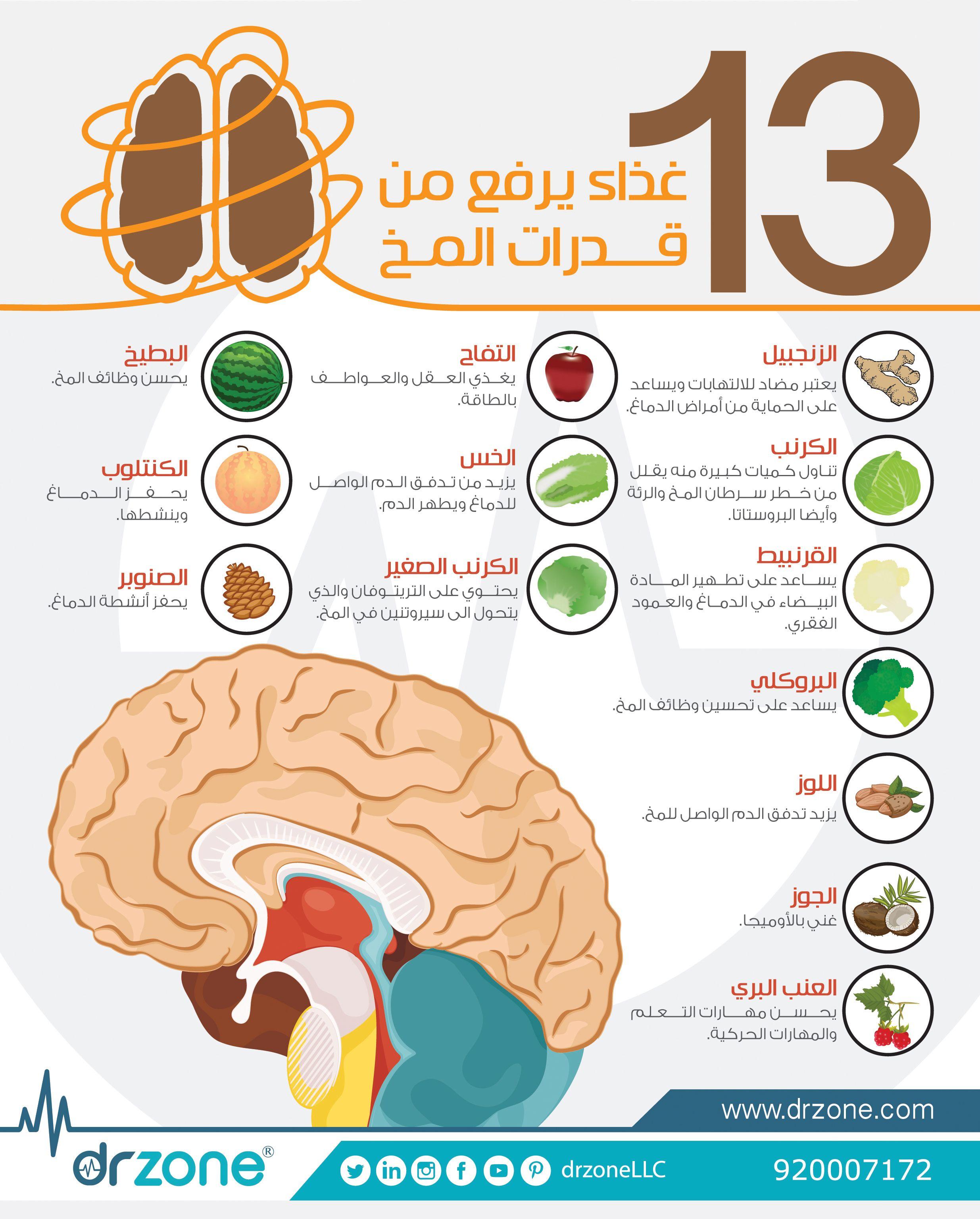 ١٣ غذاء يرفع من قدرات المخ Health Facts Food Brain Food Health Facts