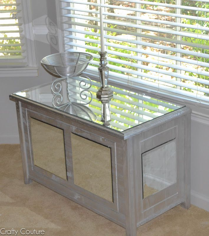 Mirror Tiles For Table Decorations Interesting Diy Mirrored Chest Old Toychest Transformed With Metallic Paint Design Decoration