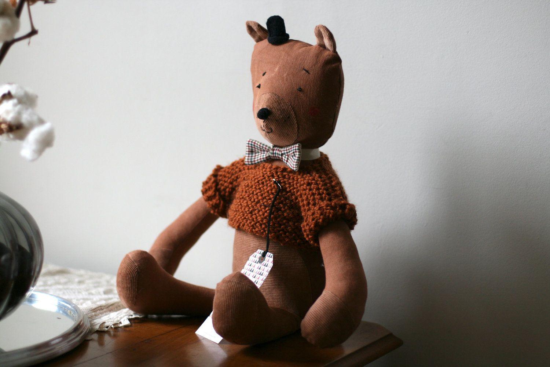 NESTOR, brown soft bear, handmade in France.. $60.00, via Etsy.