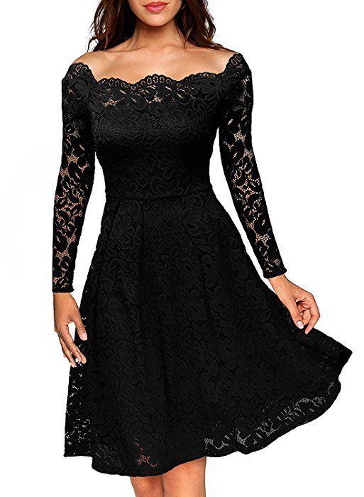 ASCHOEN Damen Abendkleid Vintage Off Schulter Cocktailkleid Retro Spitzen  Langarm Kleid Schwarz M ea8e4d8643