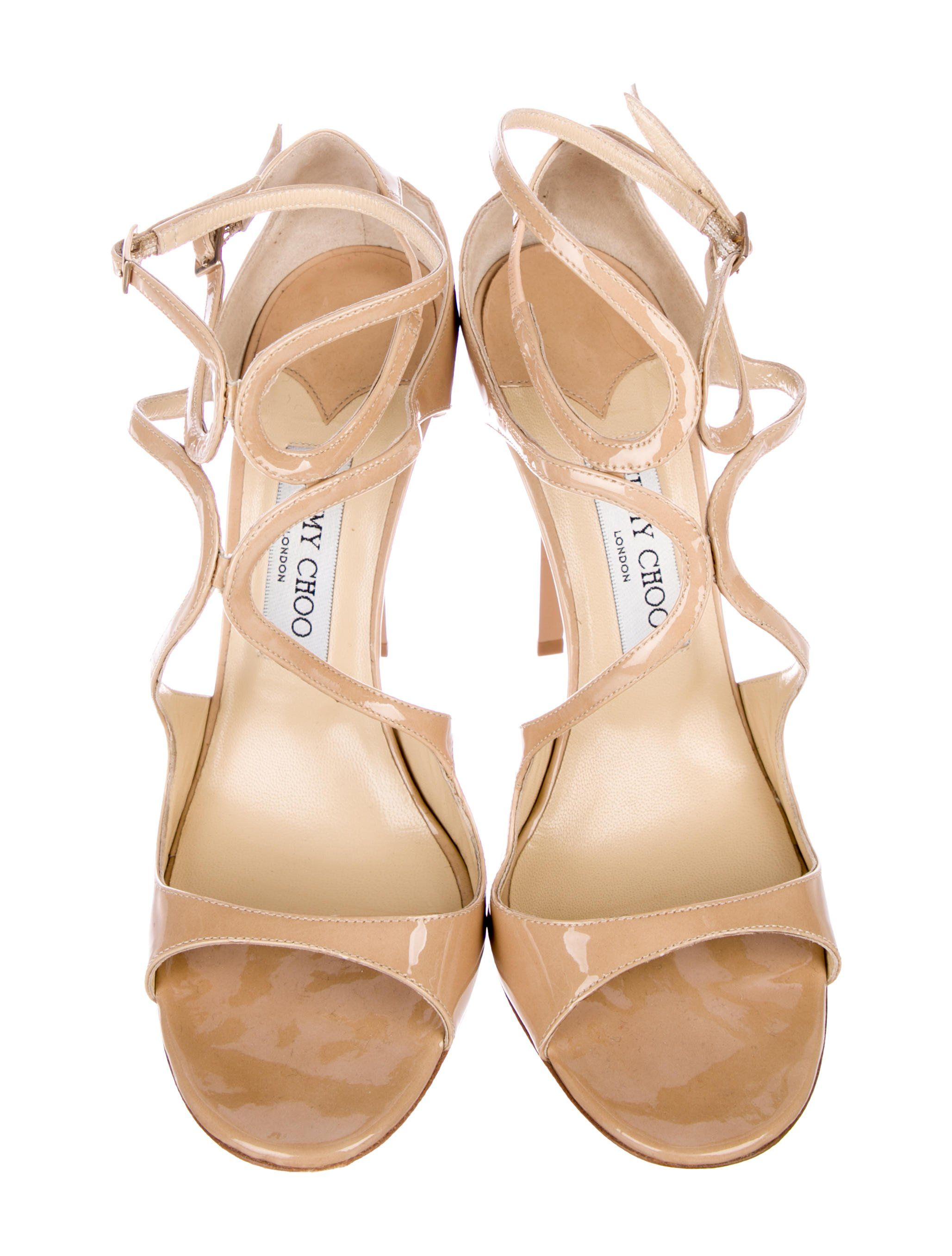 tan patent leather jimmy choo lang sandals iwth resin heels and