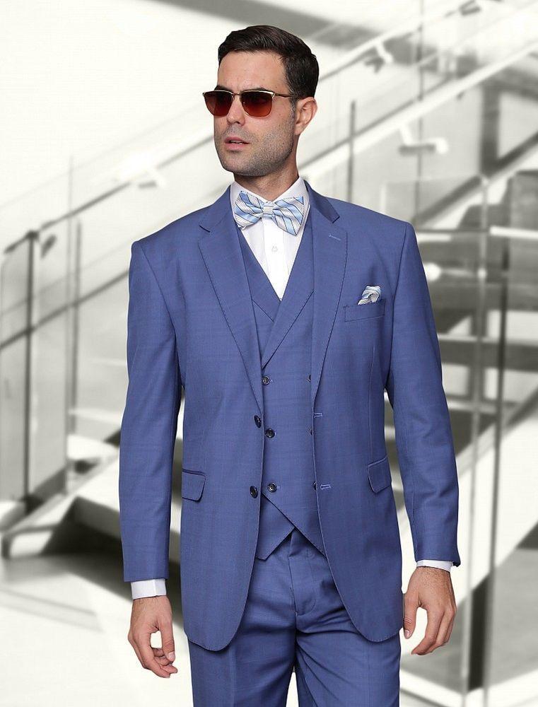Vinci Men/'s Navy Blue 3 Piece 2 Button Classic Fit Suit NEW w// Matching Vest