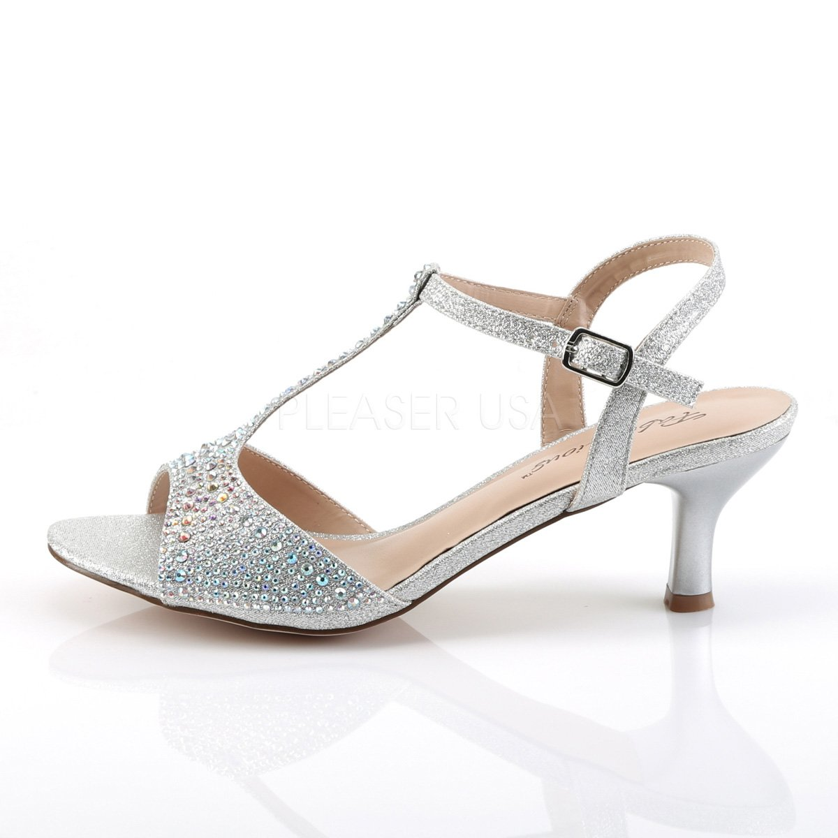 Fabulicious Audrey 05 Silver Shimmering Fabric Shoes T