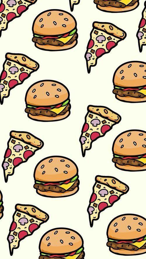 Pizza And Hamburger Wallpaper