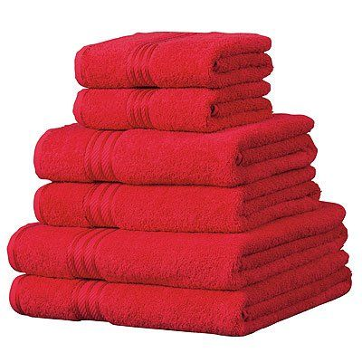 Linens Limited Supreme 100% Egyptian Cotton 500gsm 6 Piece Hotel Towel Set, Red