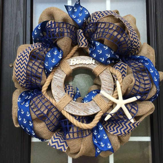 Burlap Beach Wreath Beach Life Saver and Anchor by SnappyPea