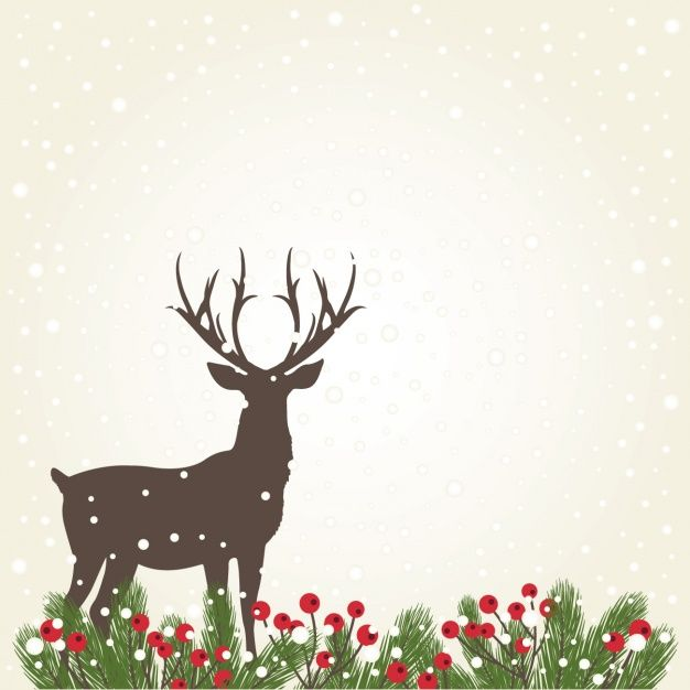 Deer Silhouette Background With Snow Free Vector