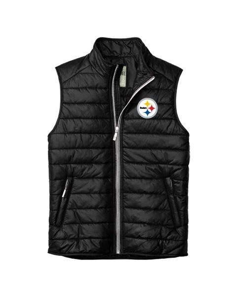731bc839 Picture of Pittsburgh Steelers Tommy Bahama Black Kickoff Puffer Vest