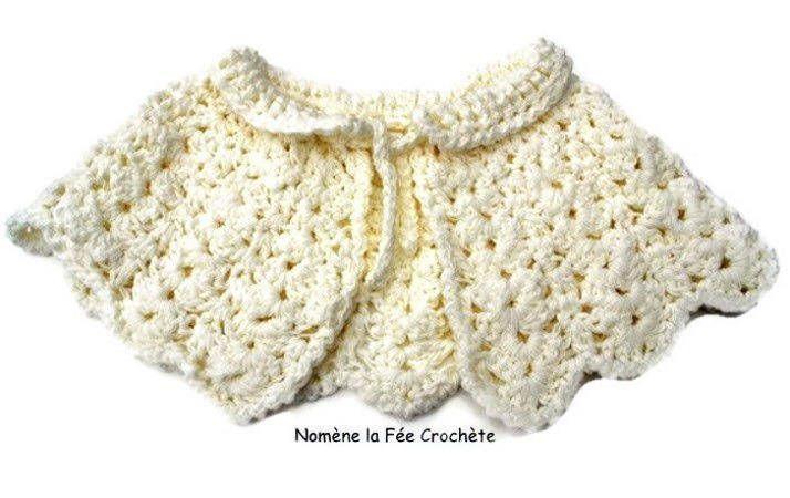 Ensemble petite cape blanche et mitaines, chauffe-épaules fait main, au crochet, non tricoté, pour adulte ou enfant