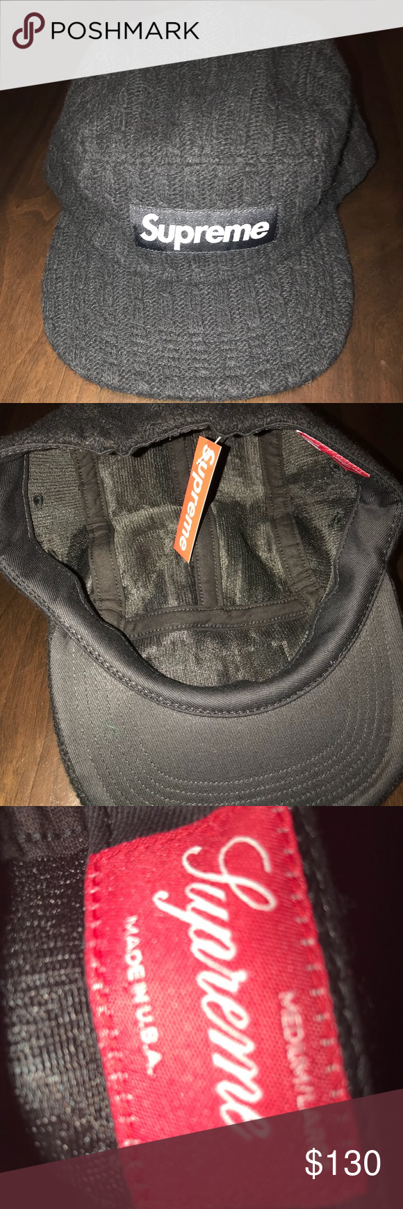 Authentic Supreme fitted cable knit camp cap Brand new with tag in color  black. Supreme Accessories Hats 2cf06d102