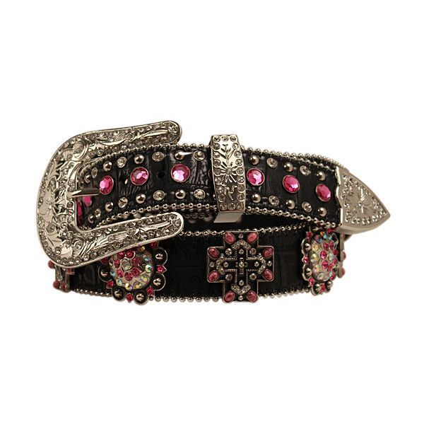 Blazin Roxx Black & Pink Cross Rhinestone-Accent Belt (26 CAD) ❤ liked on Polyvore featuring accessories, belts, blazin roxx, rhinestone studded belt, pink belt, fake belts and sparkly belts