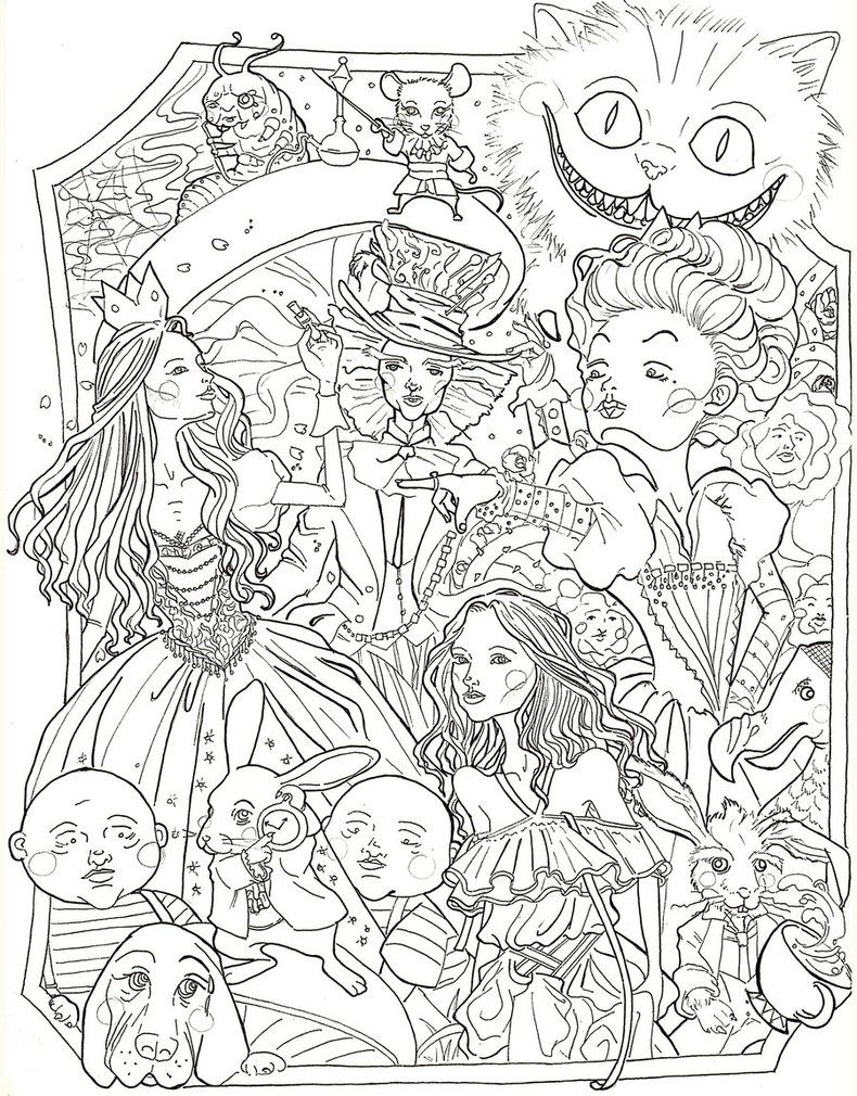 Alice in Wonderland by sidoans Coloring books, Coloring