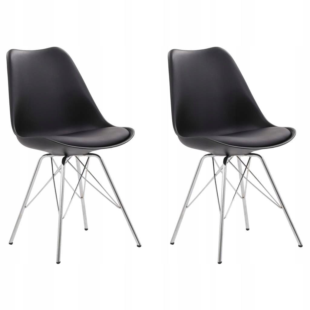 Krzesla Jadalniane 2 Szt Czarne Sztuczna Skora 8605163576 Oficjalne Archiwum Allegro Eames Chair Chair Eames