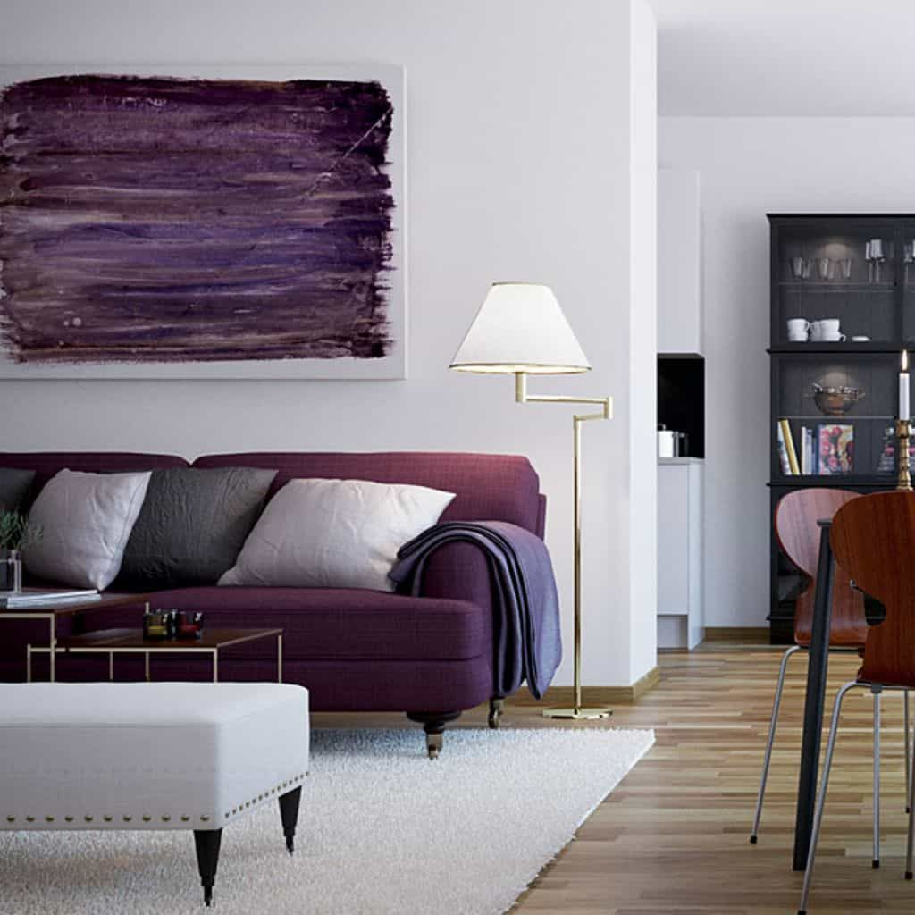 Decorate Your Living Room With Purple Sofa   Small living ...