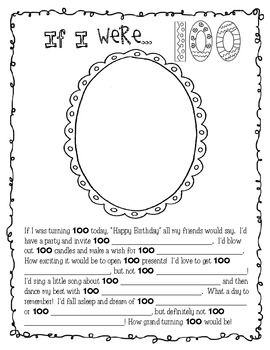 a fun activity for the 100th day of schoolincluded fill in