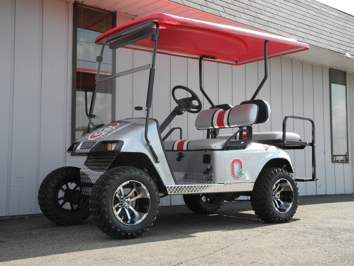 this very cool 2007 e z go street ready electric golf car features custom gray metallic paint. Black Bedroom Furniture Sets. Home Design Ideas