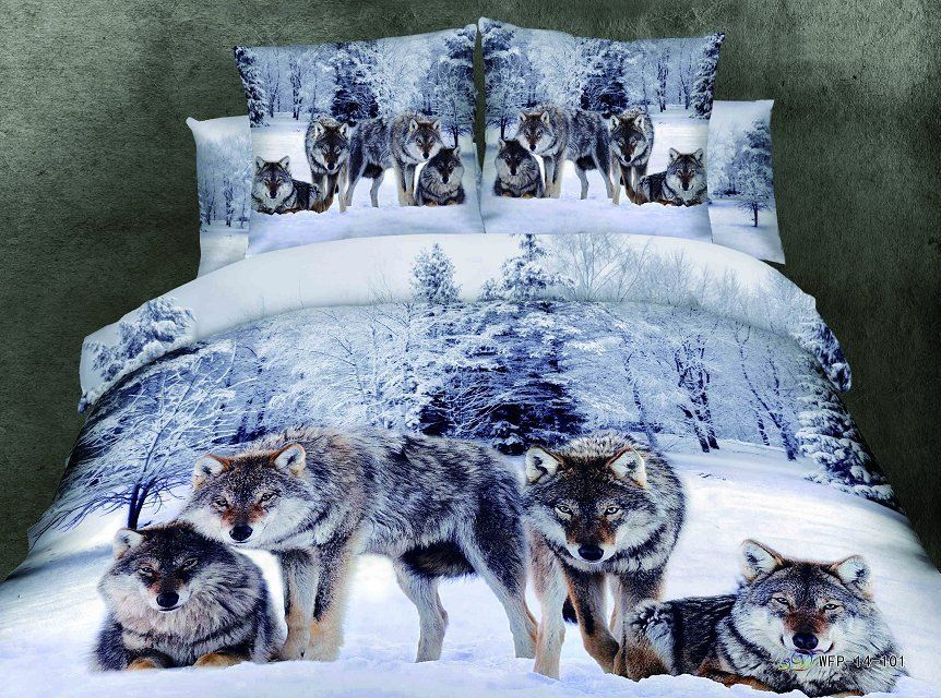 Wolf Luxury Gift Man Bedding Set Quilt Duvet Comforter