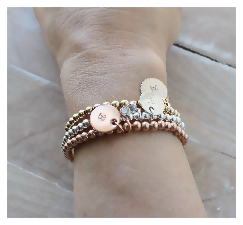 rose gold ball bracelet gold round beads bracelet stretch beaded