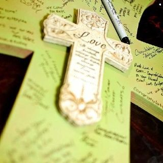 Wooden Wedding Guest Book | Great alternative to a guest book! Bought a plain wooden cross and ...