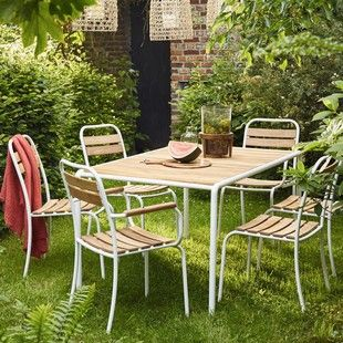 Salon de jardin en acacia FSC et métal - Table + 4 chaises + 2 ...