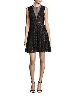 BCBGMAXAZRIA - Sequin Illusion V-Neck Dress