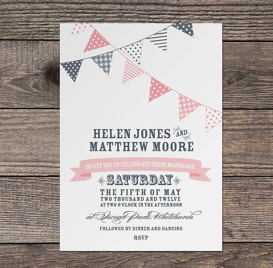 Bunting Wedding Invitation | Buntings, Weddings and Wedding