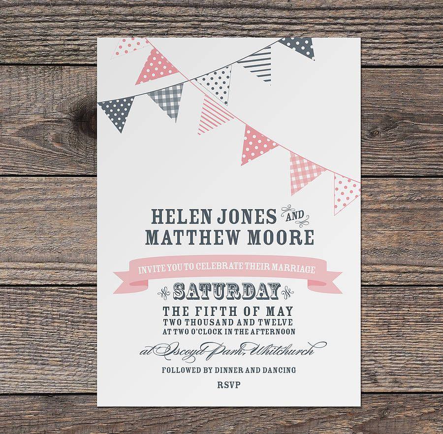 Bunting Wedding Invitation | Buntings, Weddings and Wedding