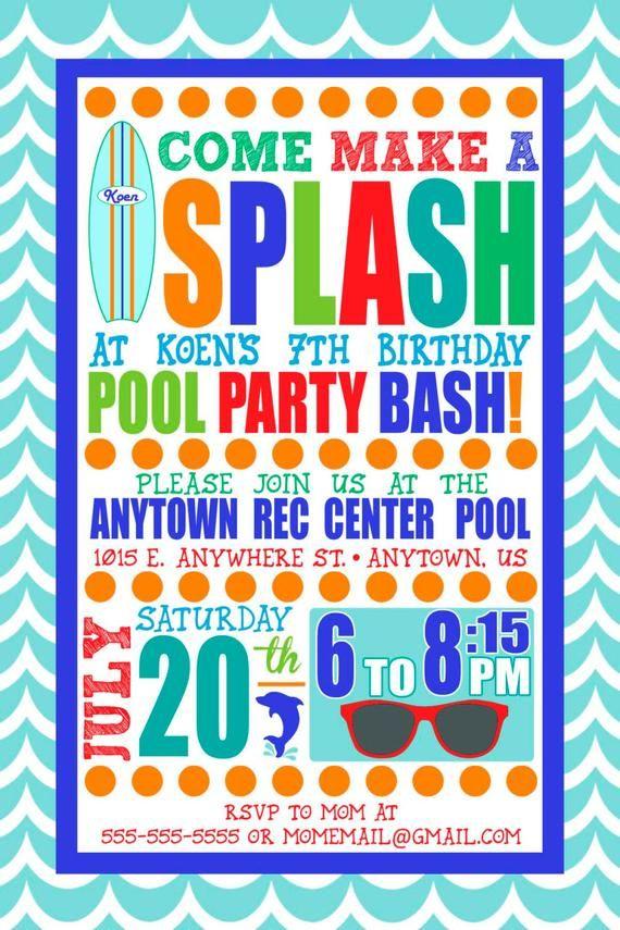 Custom Boy Swim Party Invitation