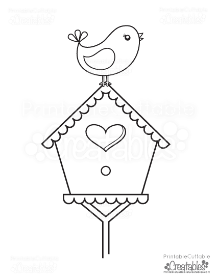Bird Perched On Birdhouse Free Printable Coloring Page Bird Embroidery Pattern Bird Template Embroidery Patterns Free